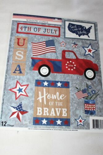 PATRIOTIC Window Clings PICK UP WITH AMERICAN FLAG, USA HOME OF THE BRAVE