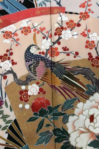 @@ Japanese kimono silk fabric/ tomesode black/ birds, flower EX58