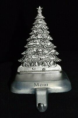 2004 ESL Pewter Metal Christmas Tree Stocking Holder Hanger Personalized MOM