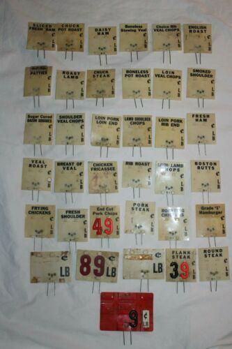 36 Vintage Butcher Shop Deli Meat Plastic Price Tags w/ Pins