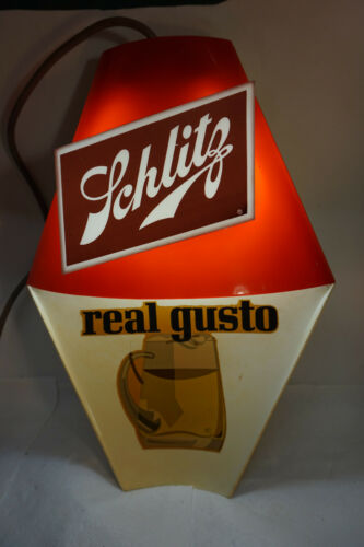 VINTAGE BEER SIGN SCHLITZ REAL GUSTO LIGHTED HANGING BAR SIGN DISPLAY BREWERIANA