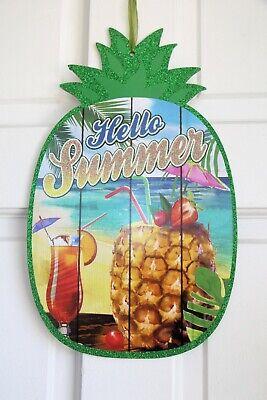 SUMMER HANGING SIGNS, Hello Summer Pineapple Drink, Luau Pool Door Décor (Luau Sign)