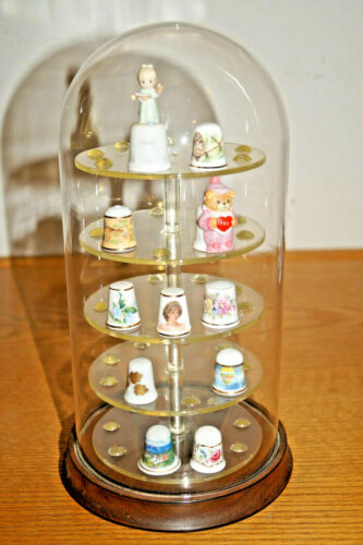 GLASS DOME DISPLAY CASE HOLDS 45 THIMBLES W/ ROTATING BASE + 11 THIMBLE LOT