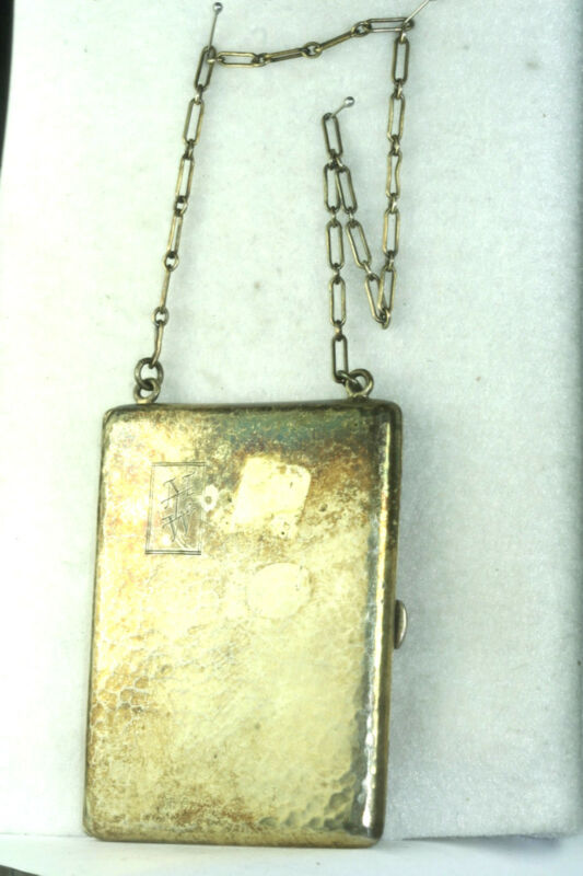 ANTIQUE MOORE & HOFMAN HAND HAMMERED STERLING SILVER CIGARETTE CARD CASE PURSE
