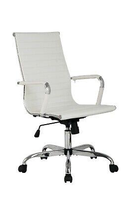 Office Desk Chair Ribbed Ergonomic Swivel Seat High Back Tilt Wpu Leather White