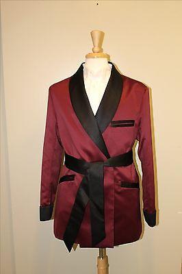 Mens Smoking Jacket- Burgundy / Black  Satin -Fully Lined   - Red Smoking Jacket