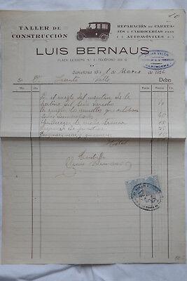 Auto Reparatur Rechnung Barcelona Luis Bernaus, 2 Steuermarken Fiskalmarke 1926