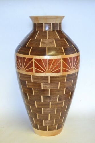 Beautiful segmented wood vase