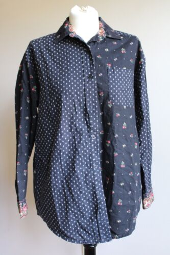 Vtg 90s Vera Bradley S Petit Point Button Front Black Floral Shirt Top USA