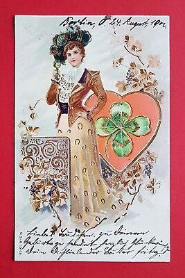 AK 1902 feine Dame mit Herz Kleeblatt    ( 23385