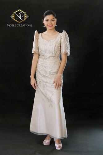 FILIPINIANA DRESS Embroidered and Beaded Maria Clara Mestiza Gown - Beige