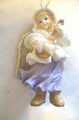 angel musician ornament playing  lute purple dress 4 1/4