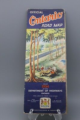 ONTARIO CANADA OFFICIAL ROAD MAP ISSUED 1954 DEPARTMENT OF HIGHWAYS VINTAGE