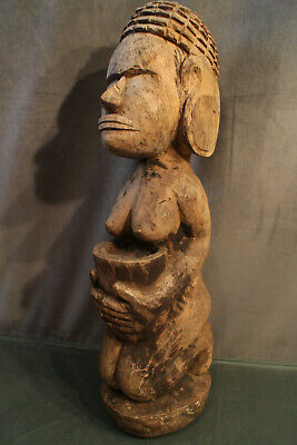 Figure Wood Carved Theme Female Effigy Islands Fiji