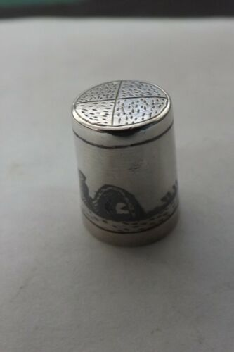 SOLID SILVER AND NIELLO MARSH ARAB THIMBLE BOATS ON THE NILE DESIGN (2904)