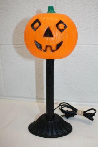 "Vintage Halloween Blow Mold Pumpkin Jack-O-Lantern Drip Candle Stick Light 12.5"""