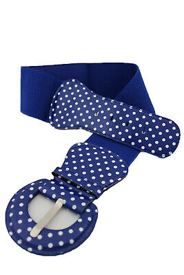 Used, Women Fashion Blue Color Belt White Polka Dots Buckle Hip Waist Elastic XS S M for sale  Shipping to India