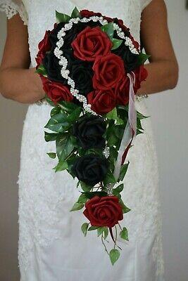 Excl. Brautstrauss aus roten und schwarzen Rosen, Hochzeit, Braut