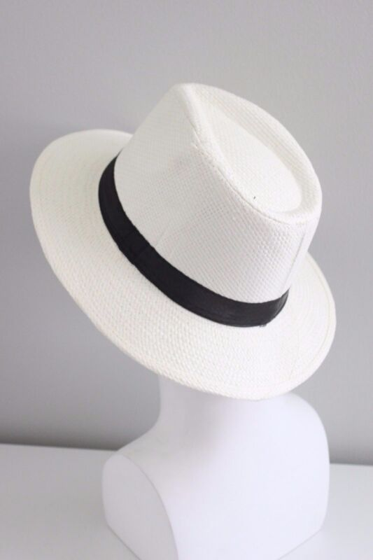 077792edff35c Men Women Unisex Panama Medium Brim Trilby Beach Pool Cuba Fedora Woven Hat