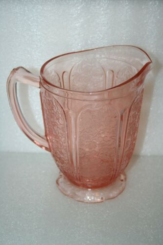 "Jeanette Pink Cherry Blossom Depression Glass Pitcher 1 Quart 6.75"" Tall Vintage"