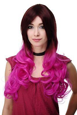 Extravagante Damen-Perücke Ombre Mahagoni-Braun Pink leicht lockig 60 - Lockige Perücke Pink