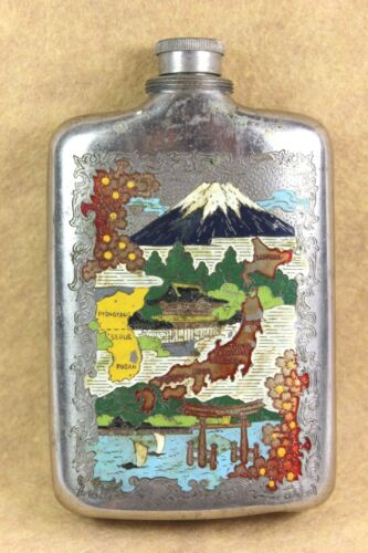 Vintage Korean War U.S. Military Liquor Flask  Hand Painted ( SCARCE !! )