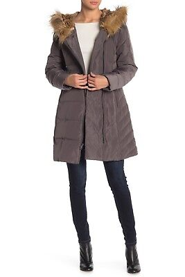 Cole Haan Signature Women's Hooded Quilted Winter Down Puffer Coat Carbon Size (Cole Haan Signature Hooded Down Puffer Coat)