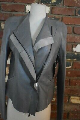 New! BCBG Max Azria grey leather moto style jacket sample NWT size small