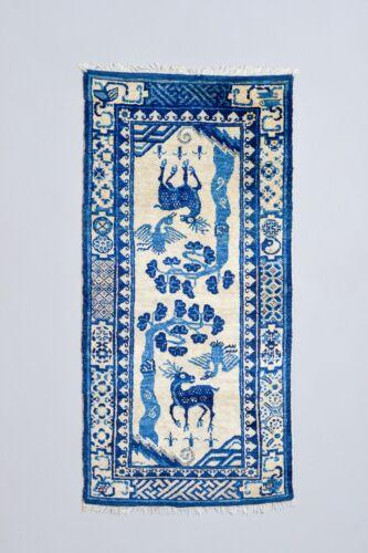 FULL PILE! ANTIQUE 1900 CHINESE / TIBETAN RUG CARPET KHADEN MAT DEER