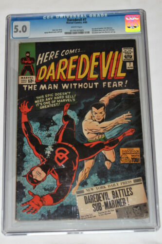 DAREDEVIL 7 Cgc 5.0 WHITE Pages First Red Costume Battles SUB-MARINER Stan Lee