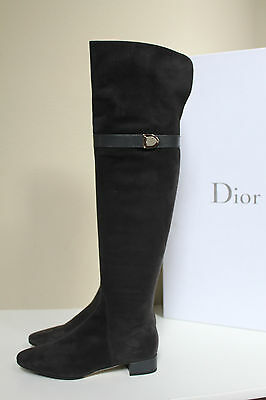 New  6.5 / 36.5 Christian Dior Gray Suede Blason Thigh High Tall Flat Boot Shoes