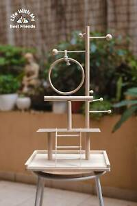 Custom Wood Budgie Bird Play Stand, Bird Perch Platform