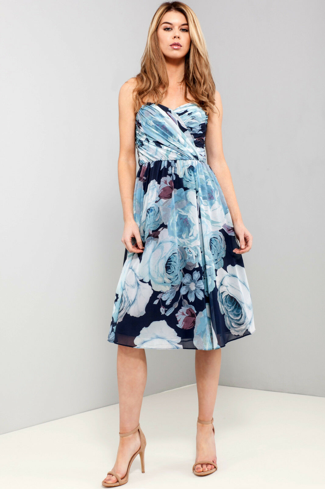 c475f6a42972 Details about ASOS Floral Bandeau Midi Dress in Blue Sizes 4 to 18