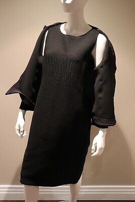 ARMANI COLLEZIONI RIBBED BLACK DRESS WITH MATCHING ZIPPERED JACKET - 2 Pieces!