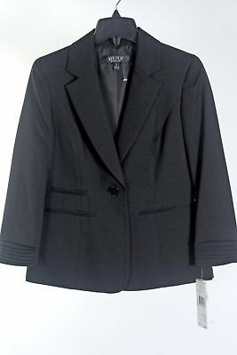 Womens Black Blazer Suit Jacket KASPER size 2 Polyester NWT NEW