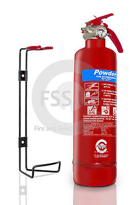 1KG ABC POWDER FIRE EXTINGUISHER HOME OFFICE CAR KITCHEN + WALL BRACKET