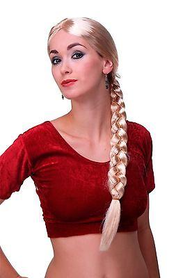 Damen Perücke Karneval Fasching Rapunzel lang blond geflochtener Zopf Per-P02 ()