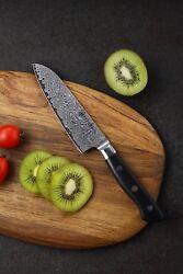 KATSURA Japanese Premium AUS 10 Damascus Steel 67 Layer Small Santoku Knife 5-in