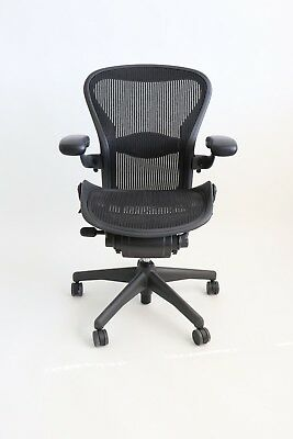 Herman Miller Aeron Size B Medium Chair - Graphite Black Fully Adjustable