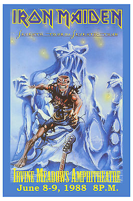 Metal Rock: Iron Maiden * 7th Tour of a 7th Tour * Irvine Concert Poster 1988