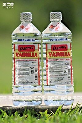 Two (2) Danncy Pure Mexican Vanilla Extract - White/Clear (1 Liter - Each)