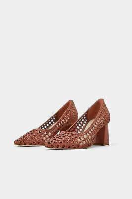 NWT Zara Braided Brick Woven Pointy Block Heels Ref 2228/001