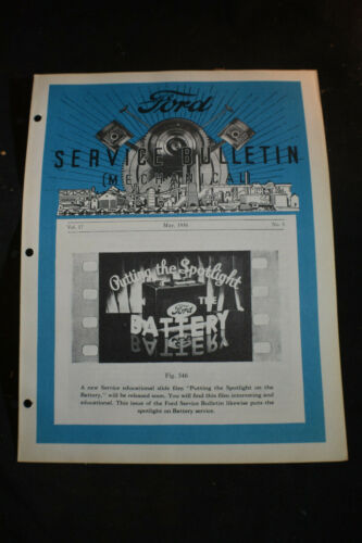 1936 Ford Service Bulletin MECHANICAL *ABCS OF BATTERY SERVICE*