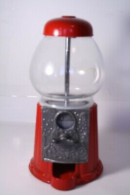 "Vintage 80s Carousel Red Cast Metal & Glass Bubble Gum Machine 9"" Red P/O F/S"