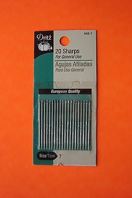 Sharps Hand Needles - Dritz Sharps Hand Sewing Needles - Size 7 - 20 pack General Purpose Needles