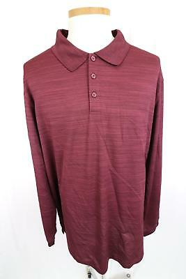 Mens Haggar Clothing Long Sleeve Red Polo Golf Shirt Size 3 XL Tall - BT7