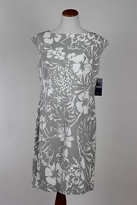 Chaps by Ralph Lauren Floral Sheath Dress, Grey Cream, Hawaiian, 12, 14, 16 NWT