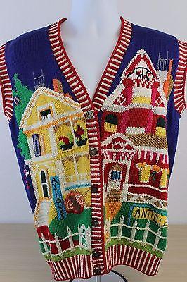 Berek 1992 Marta D Cotton Antiques Antique Store Ugly Sweater Vest Size M - Ugly Sweater Store