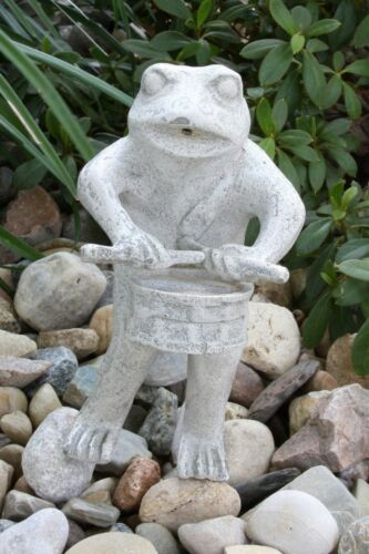 Vintage Garden Frog Statue Water Fountain Spitter Playing Drum Coated Aluminum