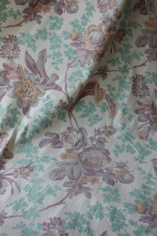 Antique Fabric French 1895 printed cotton Belle Epoque floral faded turquoise